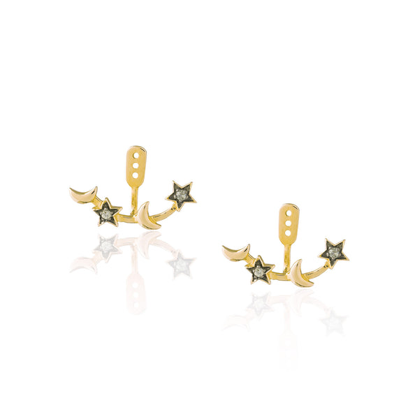 925 Silver Moon and Double Star Earrings with Sapphires