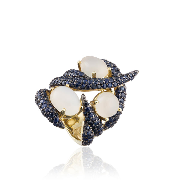 925 Silver Ring with Moonstones & Blue Sapphires