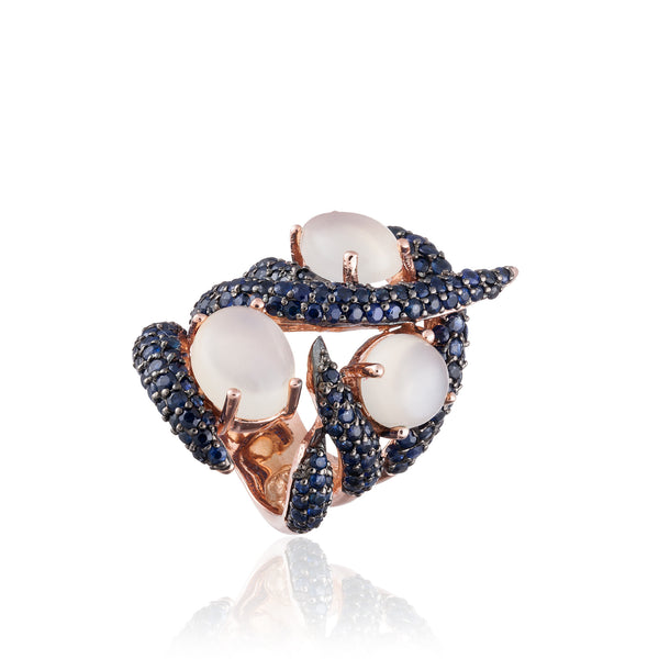 925 Silver Ring with Moonstones and Sapphires