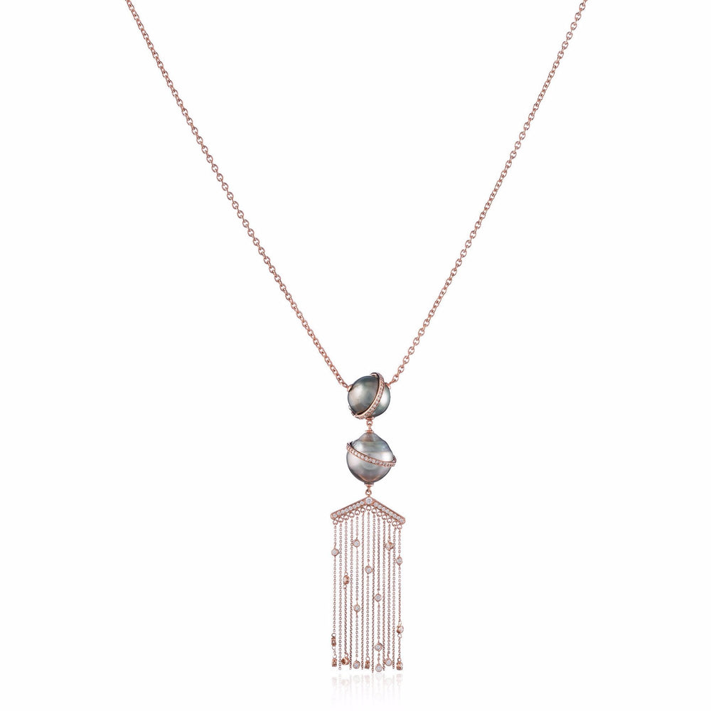 Load image into Gallery viewer, 18k Rose Gold Necklace with South Sea Pearls and Diamonds