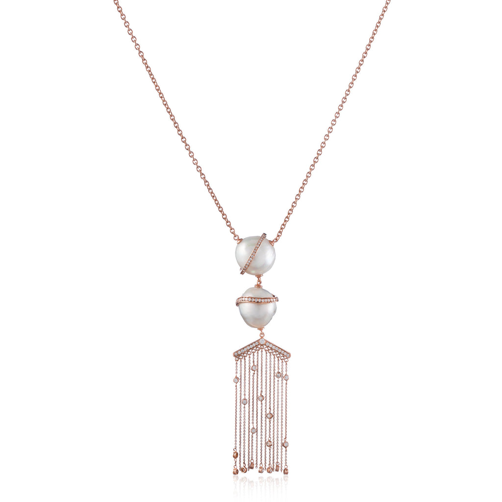 18k Rose Gold Necklace with South Sea Pearls and Diamonds