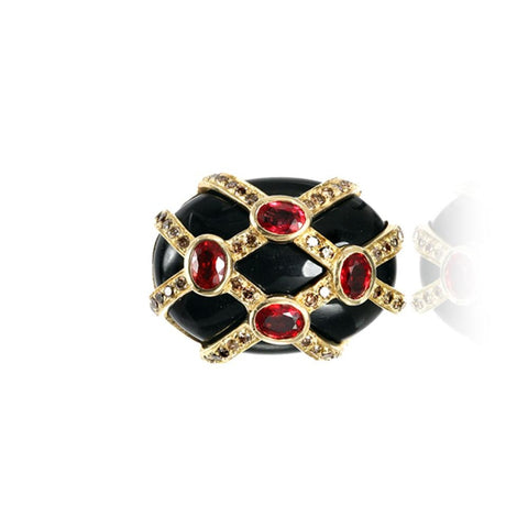 Onyx with Cognac Diamond Gold Ring