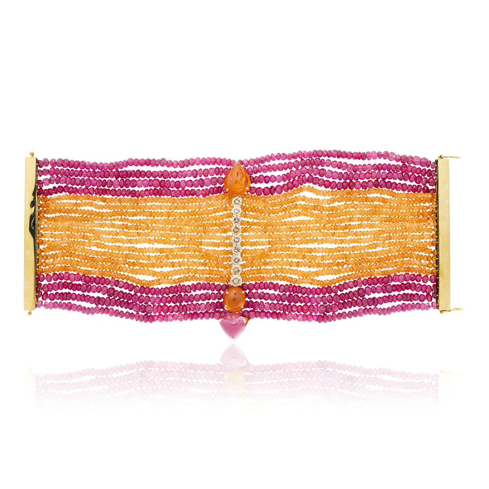 Load image into Gallery viewer, 18k Yellow Gold Bracelet with Garnet, Tourmaline, Spinel and Diamonds