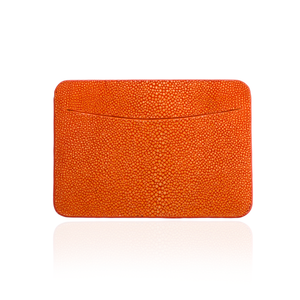 Load image into Gallery viewer, Credit Card Pouch in Orange Stingray Leather