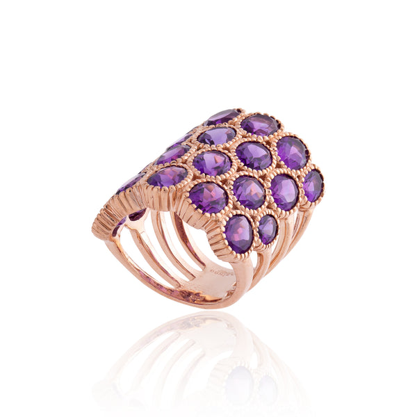 925 Silver Ring with Amethysts
