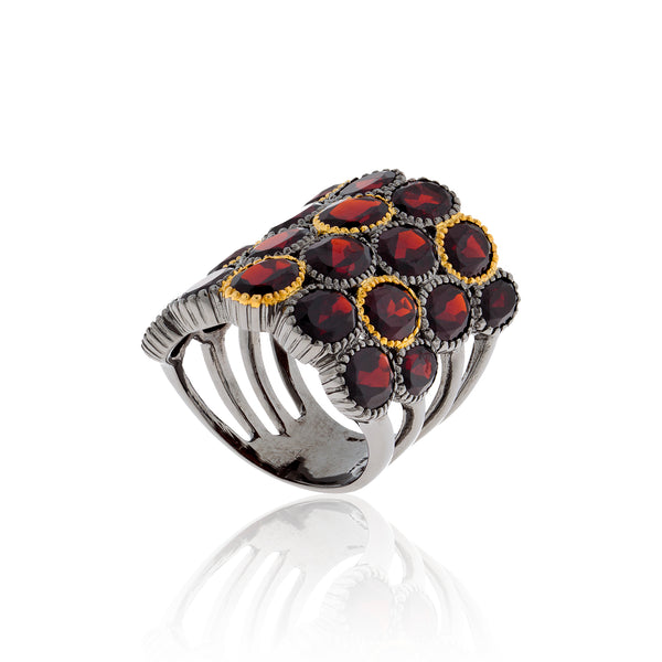 925 Silver O Ring with Oval Cut Garnets