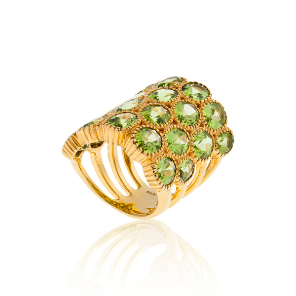 925 Silver O Ring with Oval Cut Peridot