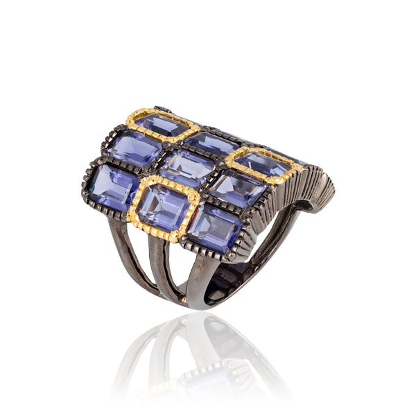 925 Silver O Ring with Emerald Cut Iolites
