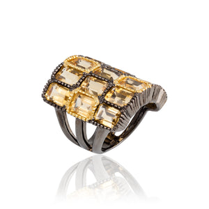 925 Silver O Ring with Emerald Cut Citrines