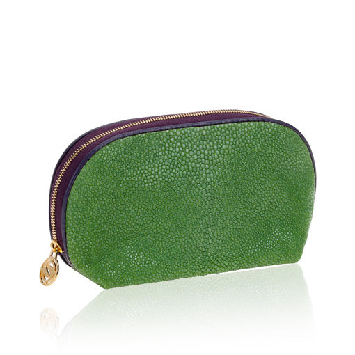Green Stingray Leather Cosmetic Case