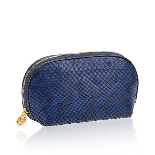 Blue Python Leather Cosmetic Case
