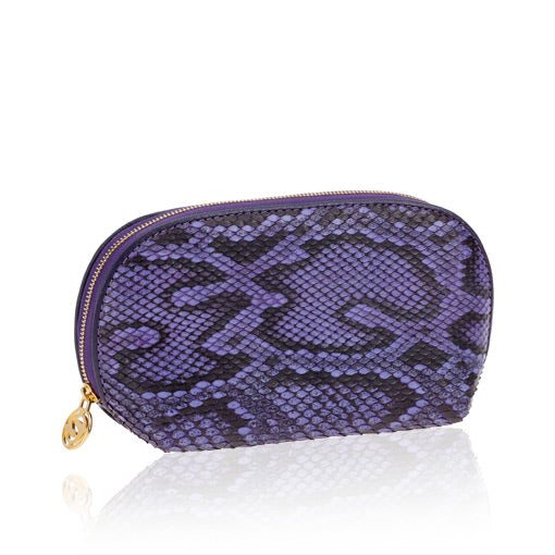 Purple Python Leather Cosmetic Case