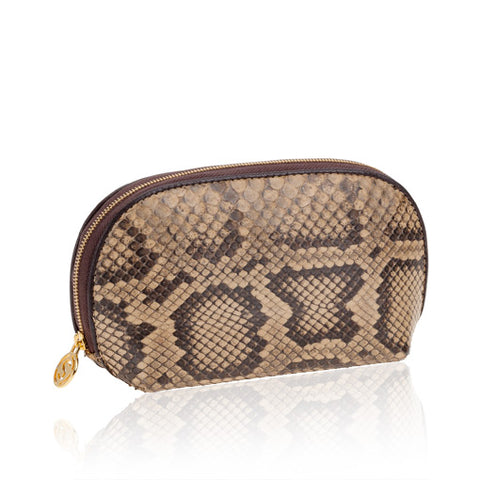Tan Python Leather Cosmetic Case