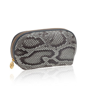 Load image into Gallery viewer, Blue Python Leather Cosmetic Case