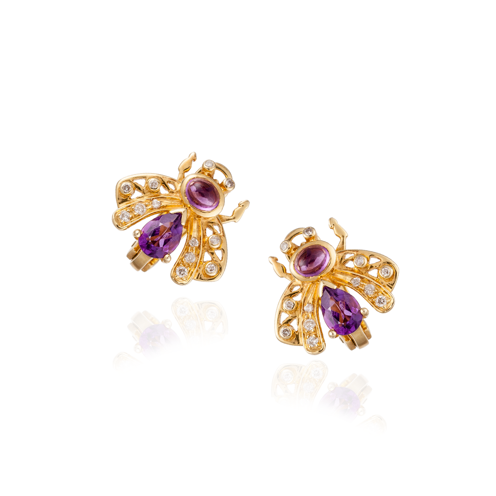 18K Gold Bee Earrings