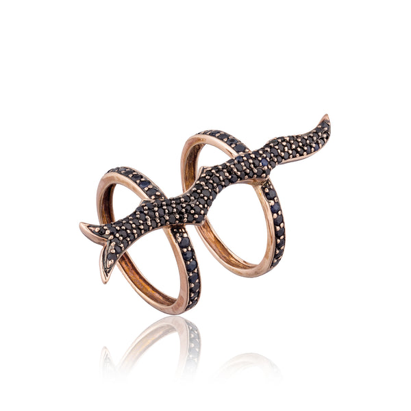 14k Rose Gold Ring with Black Sapphires