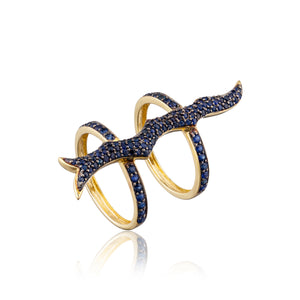 14k Yellow Gold Ring with Blue Sapphires