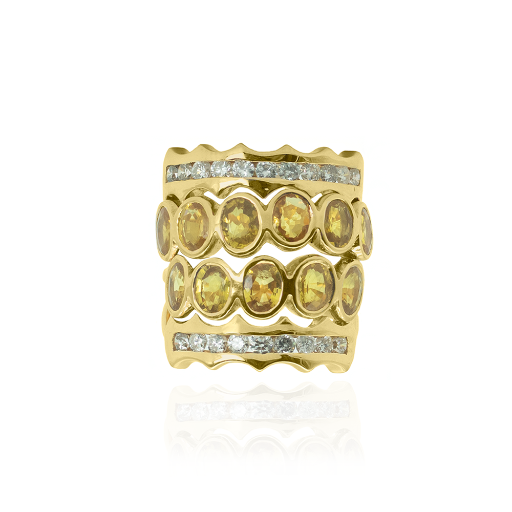 18K Yellow Gold Ring with Yellow Sapphires