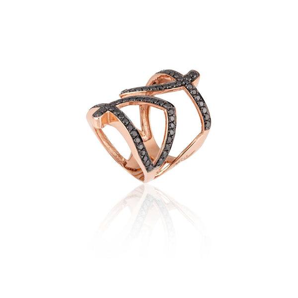 18k Rose Gold Ring with Black Diamonds