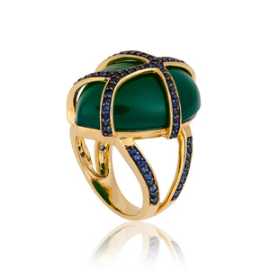 Green Onyx Cabochon Gold Ring