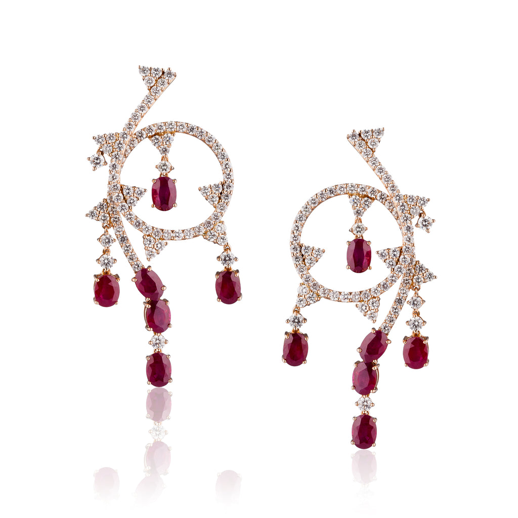 Ruby and Diamond Rose Gold Earring