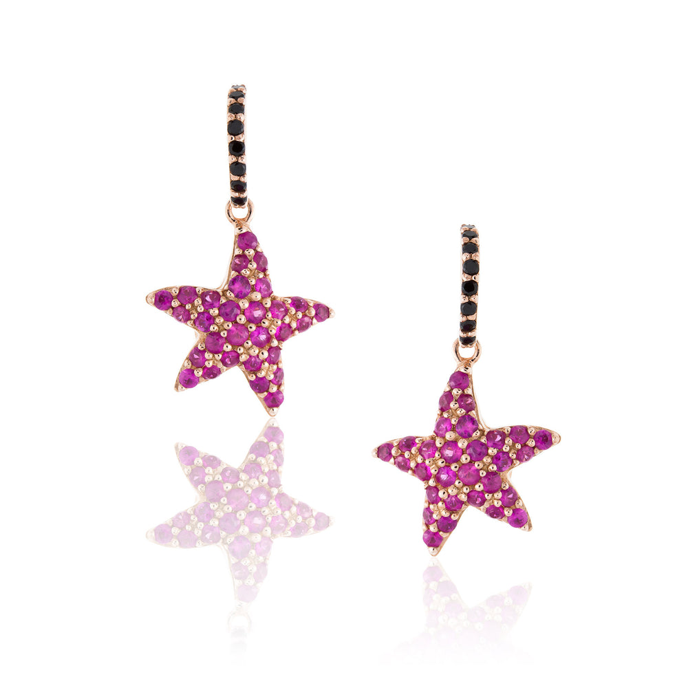 925 Silver Starfish Sapphire Earrings