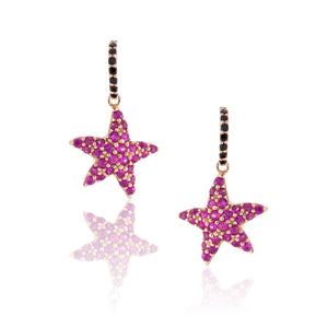 Load image into Gallery viewer, 925 Silver Starfish Sapphire Earrings