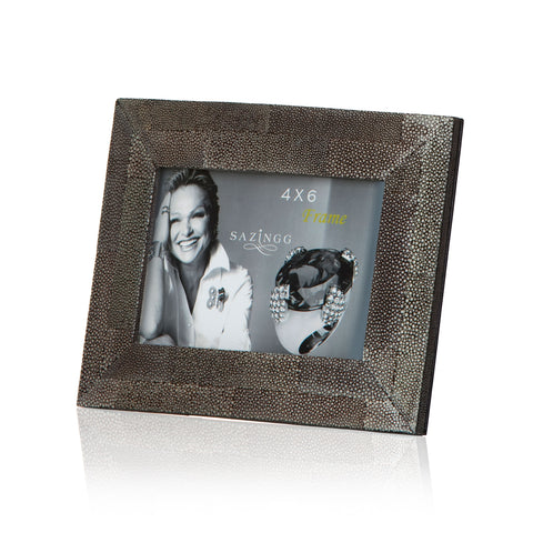 Picture Frame in Black Stingray Leather 4x6