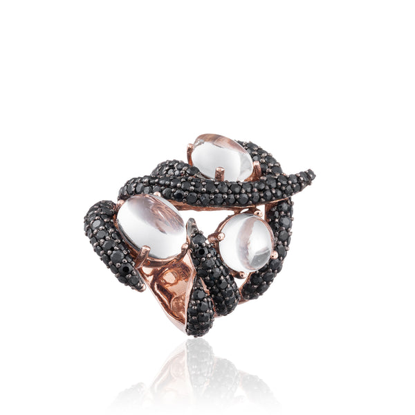 925 Silver Ring with Topaz & Black Sapphires