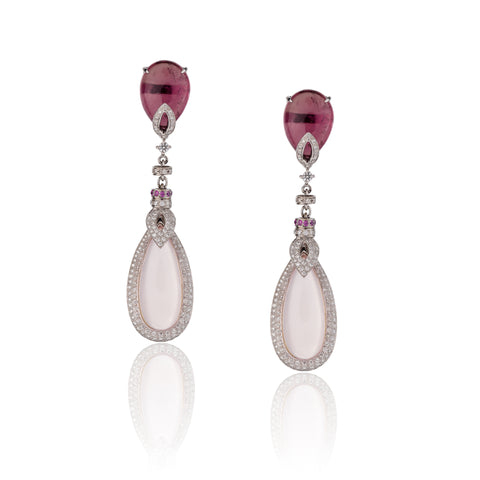 Tourmaline Pearl Shaped Tourmaline Gold Earrings