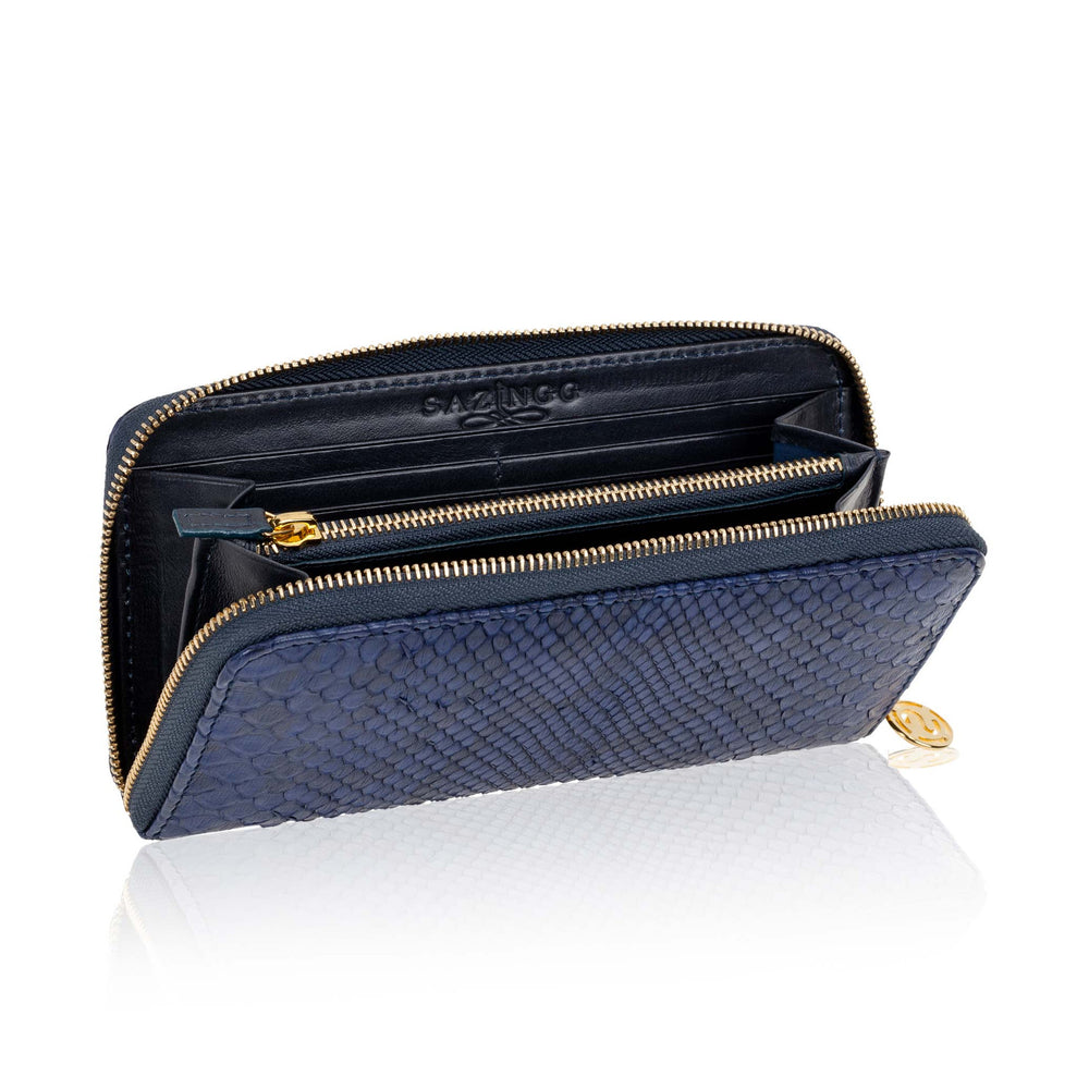 Load image into Gallery viewer, Blue Python Leather Wallet