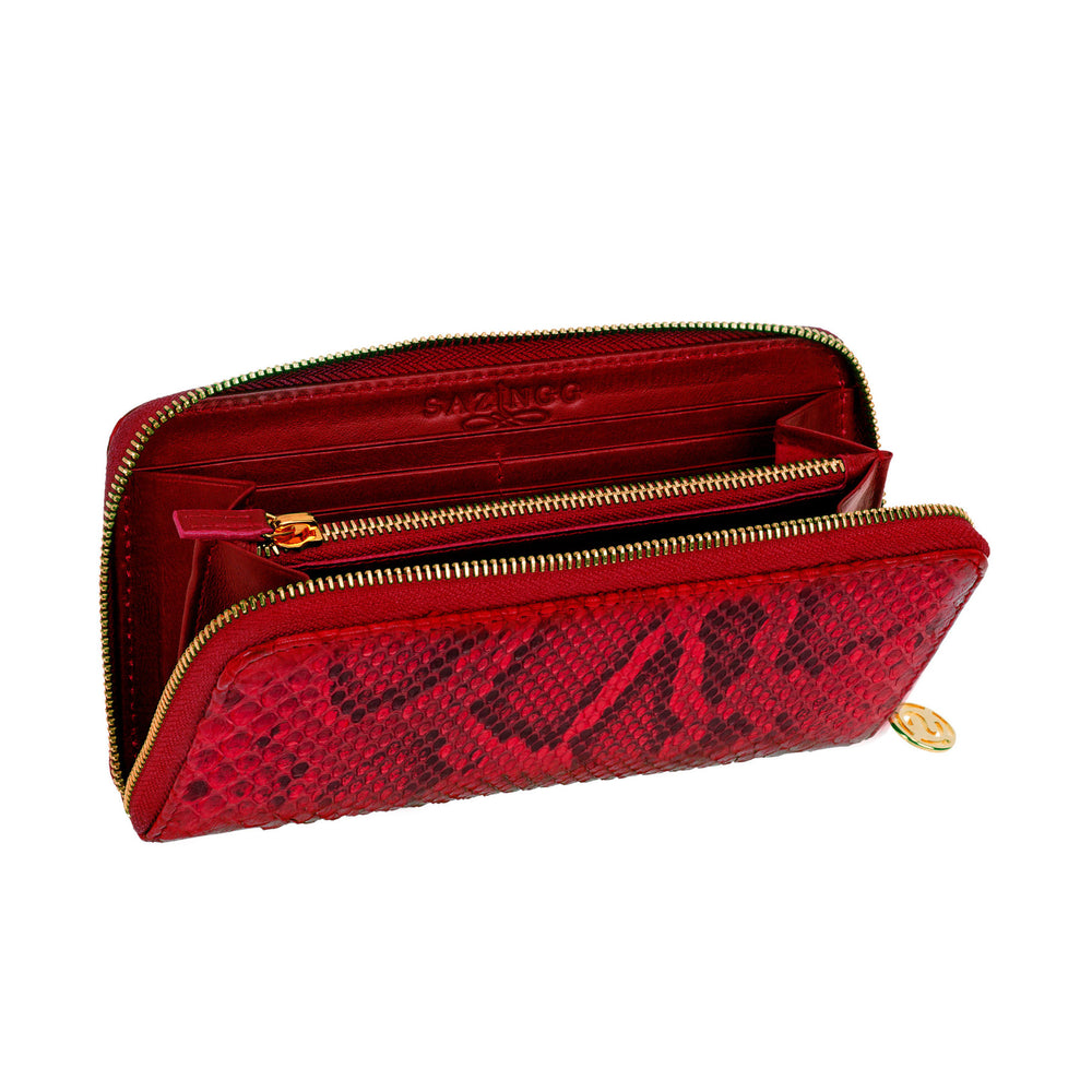 Red Python Leather Wallet