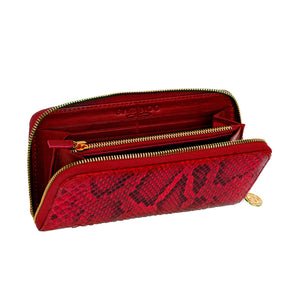 Load image into Gallery viewer, Red Python Leather Wallet