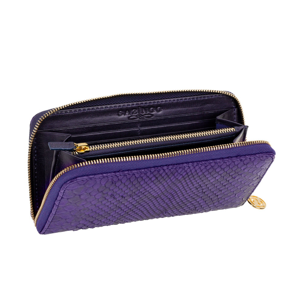 Purple Python Leather Wallet
