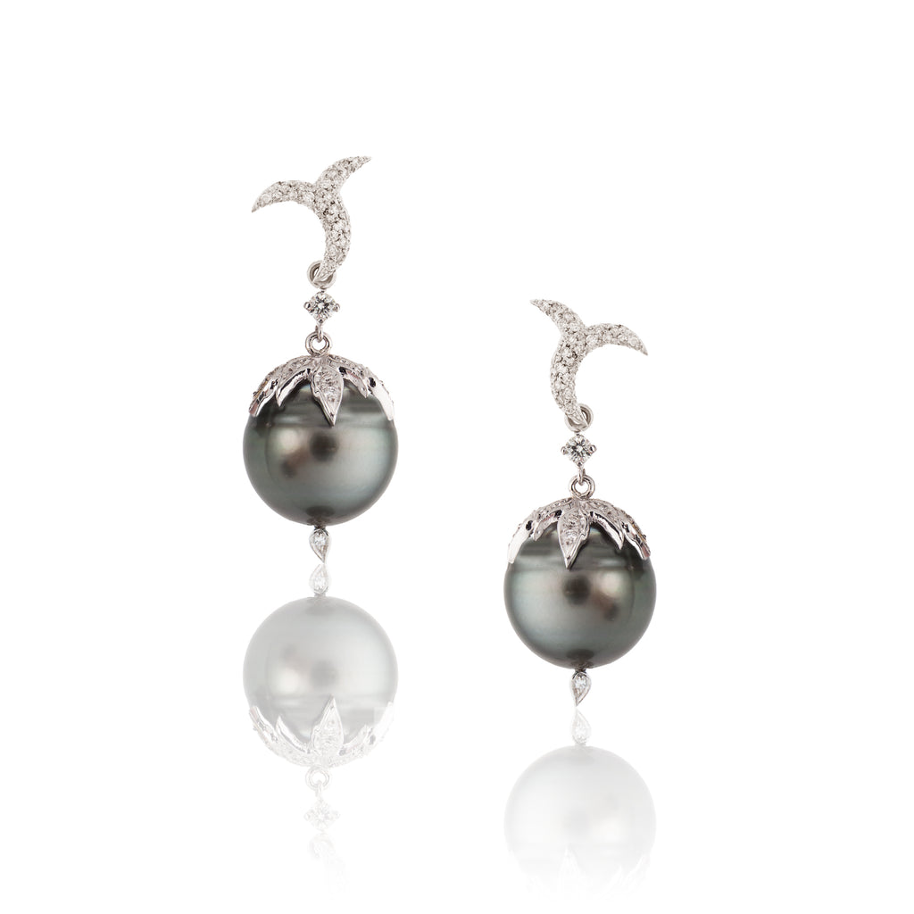 18k White Gold Earrings with South Sea Pearl and Diamonds