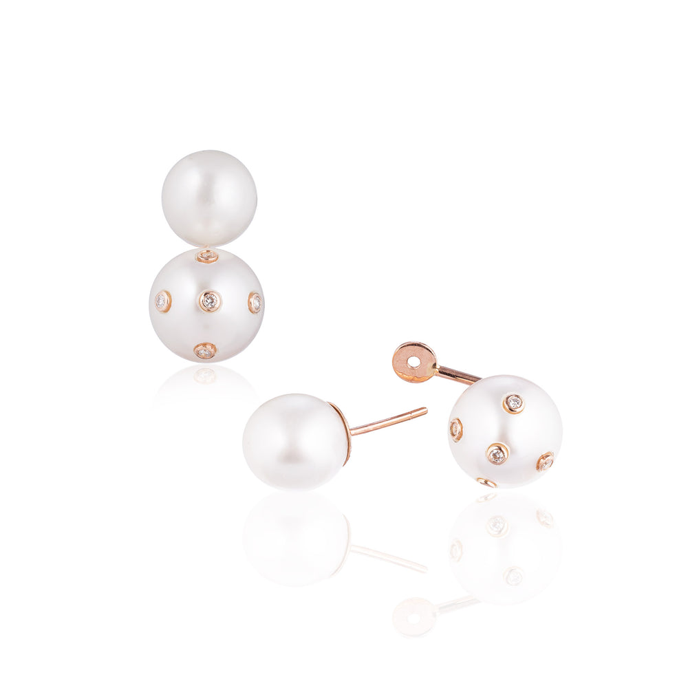 14k Rose Gold Earrings with South Sea Pearls and Diamonds