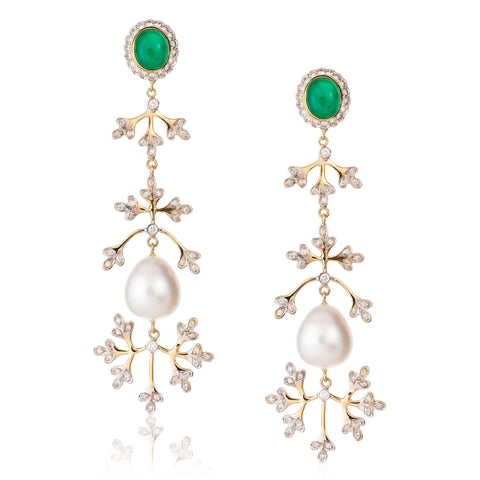 Emerald and South Sea Pearl Yellow Gold Earrings