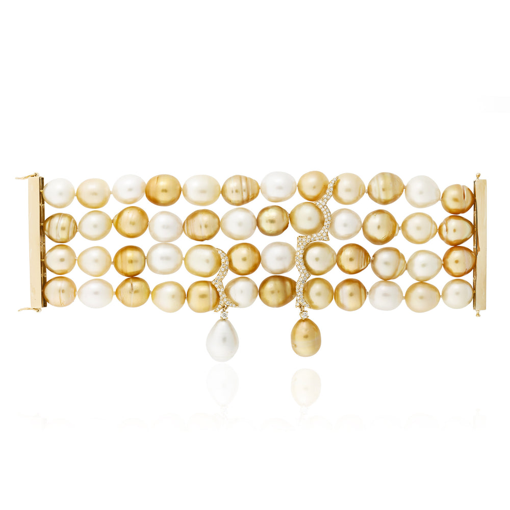 18k Yellow Gold Bracelet with South Sea Pearls and Diamonds