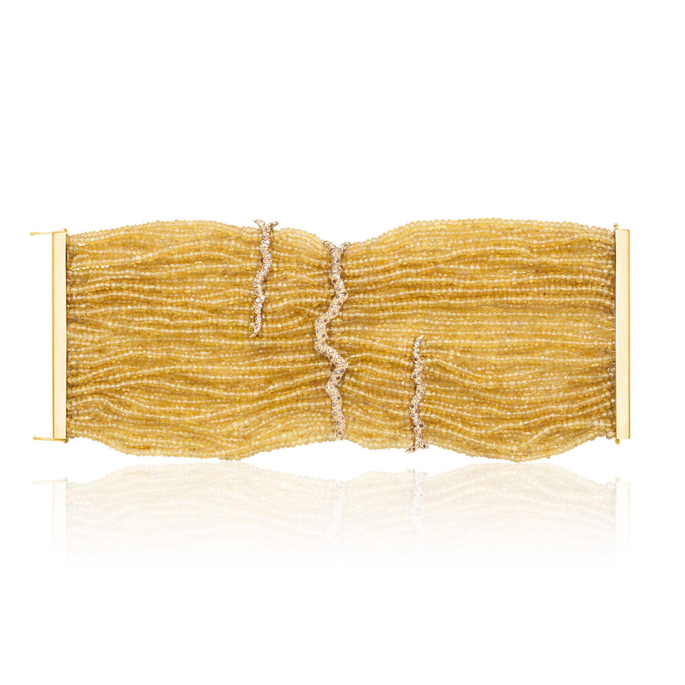 Load image into Gallery viewer, 18k Yellow Gold Bracelet with Sapphires and Diamonds