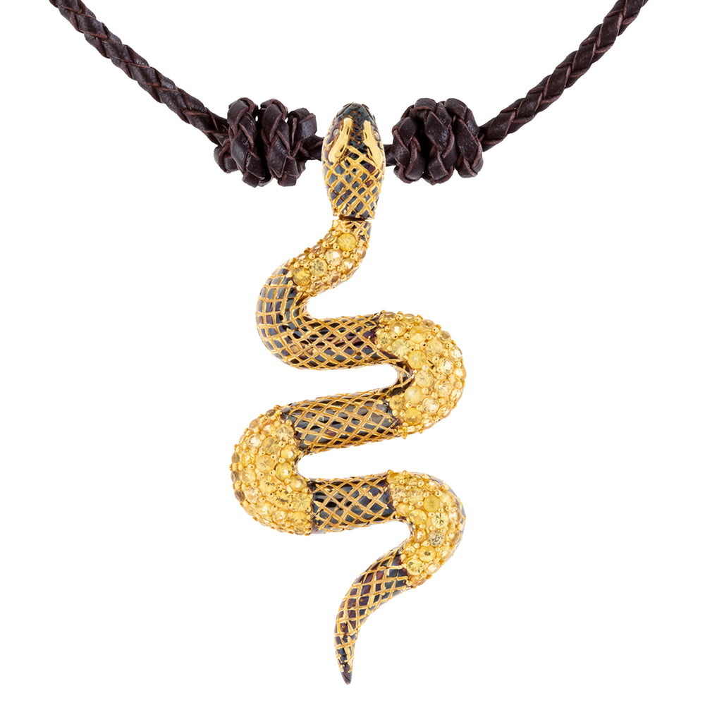 925 Silver Snake Pendant with Yellow Sapphires