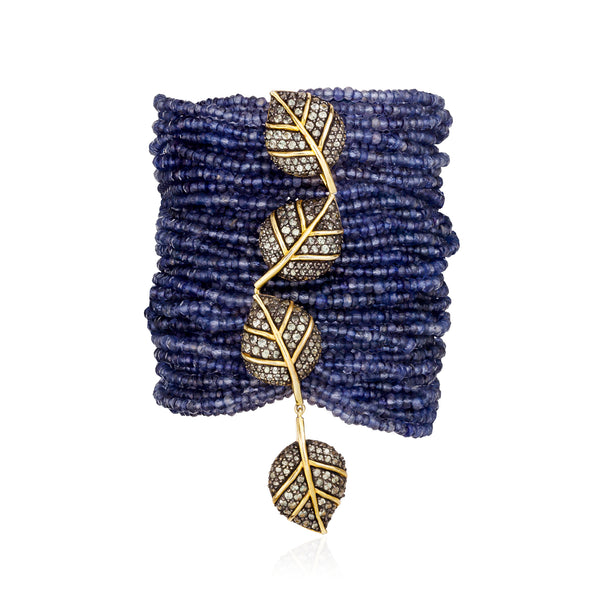 925 Silver Leaf Bracelet with Iolite and Sapphires