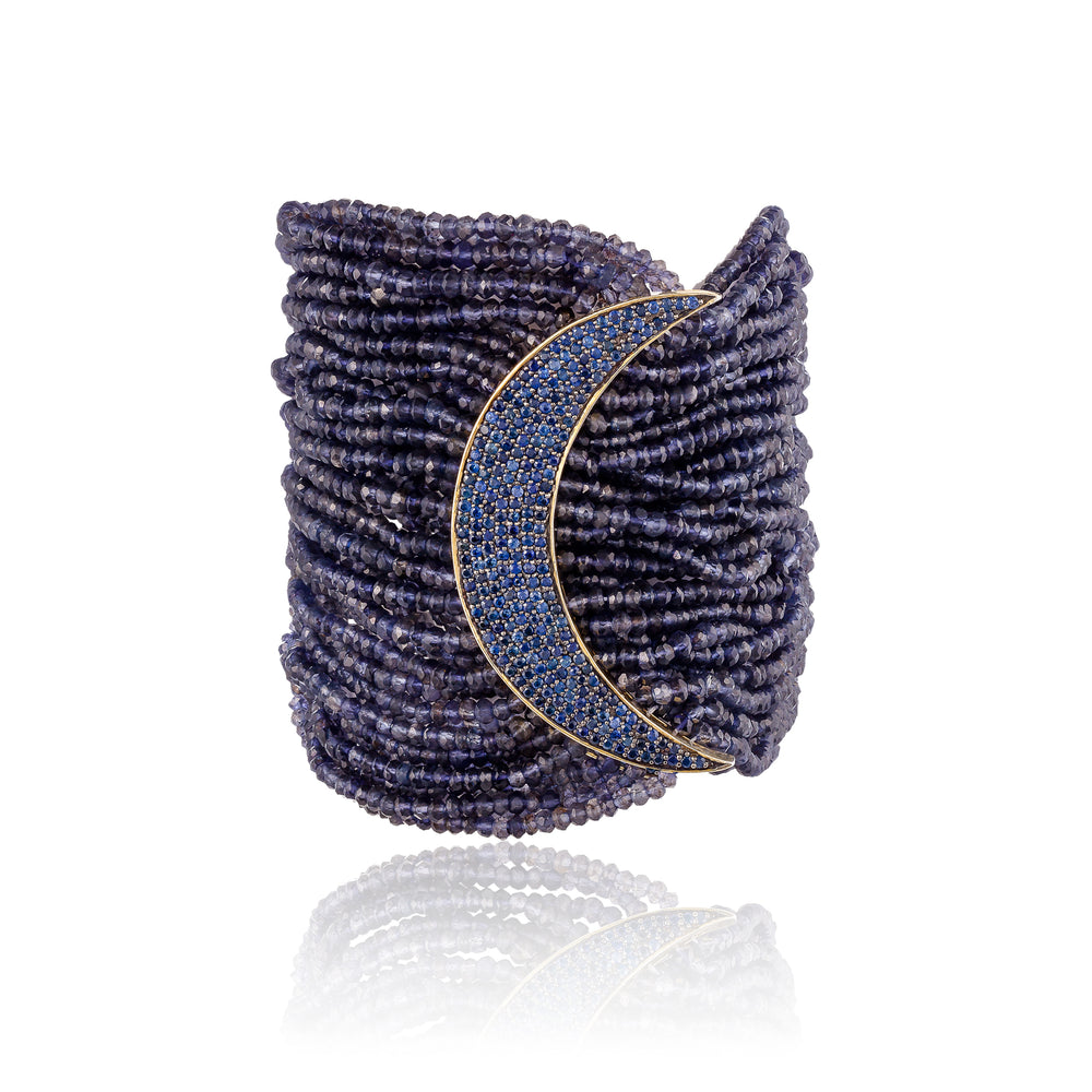 925 Silver Moon Bracelet with Iolite and Blue Sapphires
