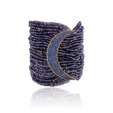 925 Silver Moon Bracelet with Iolite and Sapphires