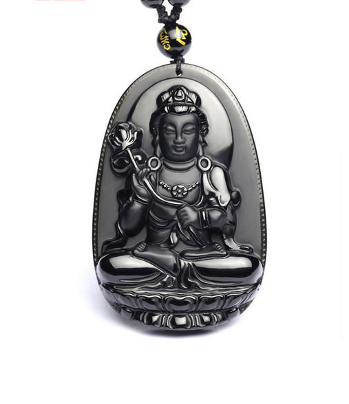 Black Obsidian Buddha Necklace Amulet