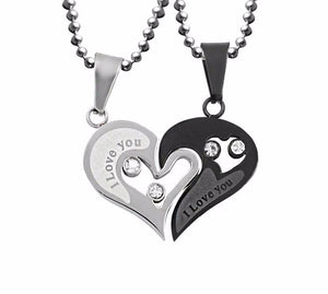STAINLESS STEEL SILVER BLACK HEART LOVE NECKLACE - Leonne
