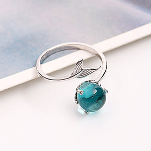 925 Sterling Silver Blue Crystal Mermaid Bubble Ring