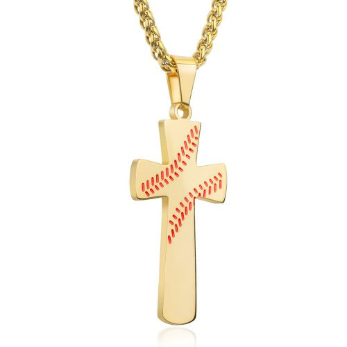 Gold Baseball Cross Pendant