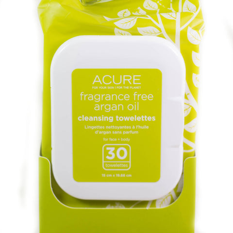 Acure Unscented Argan Oil Towelettes 30 ct.