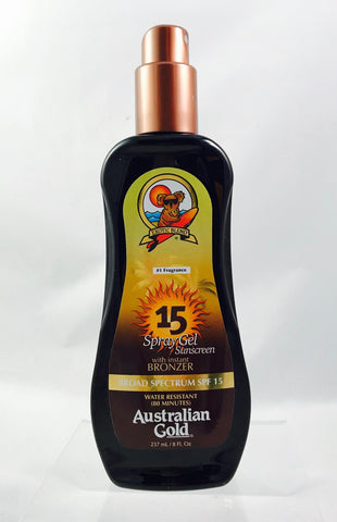 Australian Gold SPF 15 Sunscreen Spray Gel With Instant Bronzer 8 oz