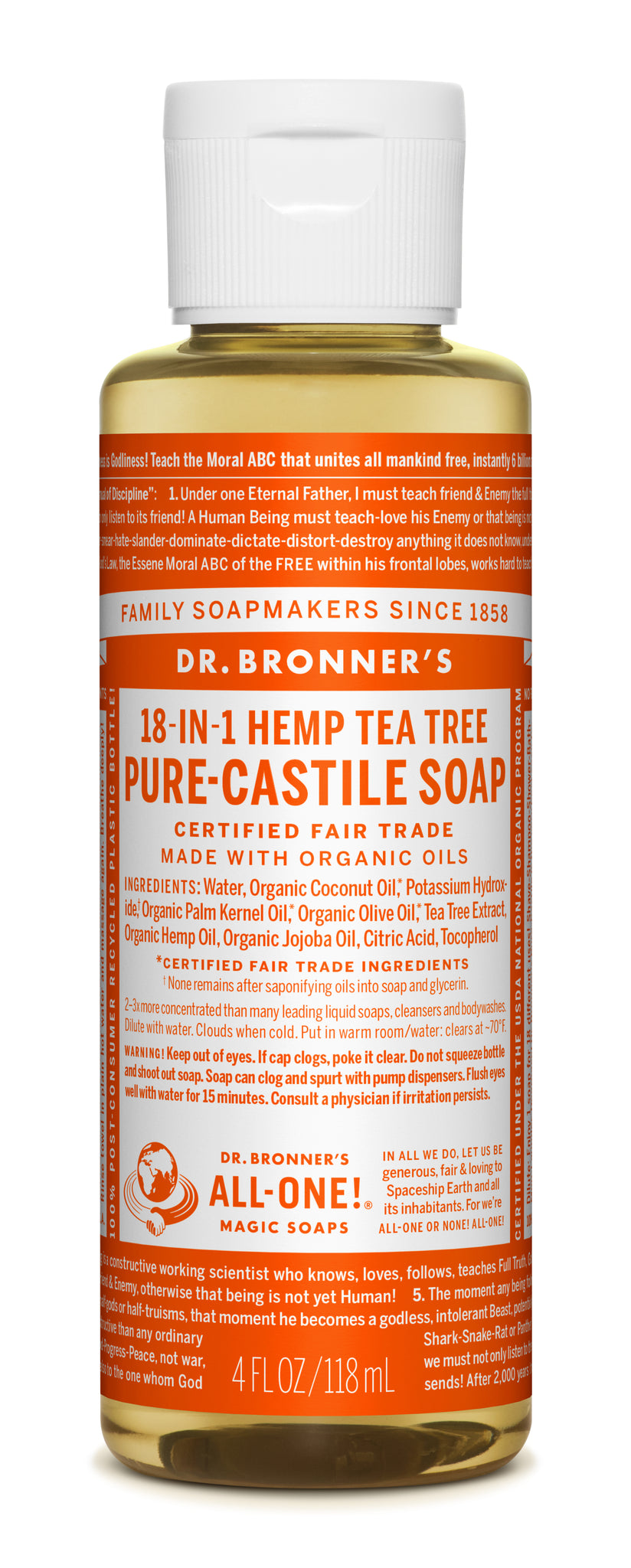 Pure Castile Liquid Soap Tea Tree 4 oz